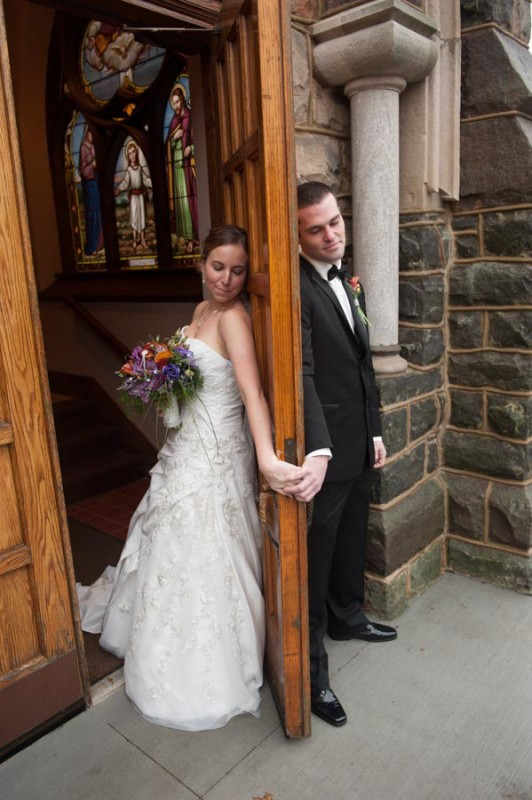 Just a door blocking the bride and groom from one another before the ceremony.