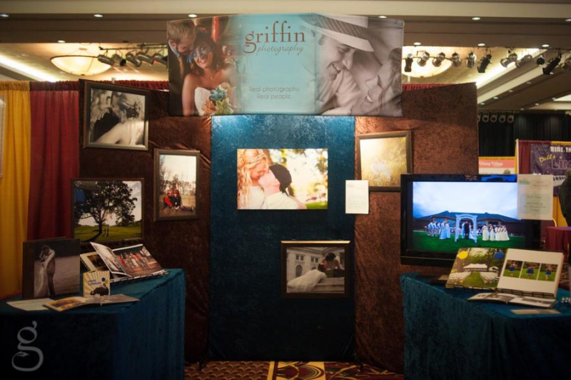 Griffin Photography booth setup at the Once Upon a Time Bridal Fair at Ho Chunk.