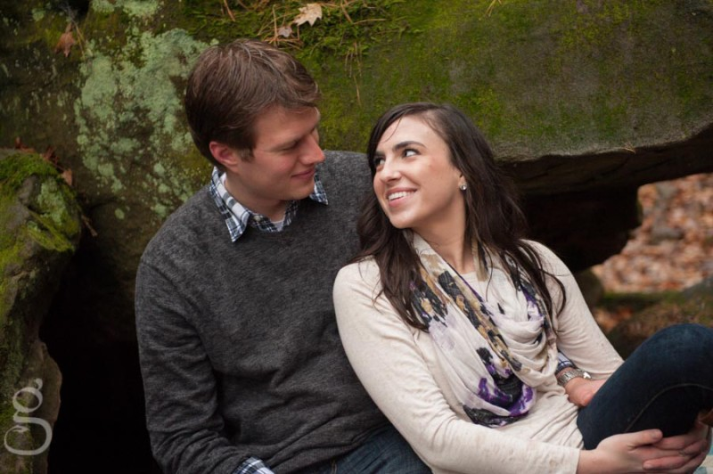 rainy day engagement session at Durward's Glen, Baraboo WI.