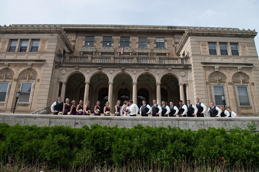 bridal party portrait at the University of Wisconsin, Madison.