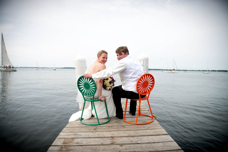 creative bridal portait on the dock at Memorial Union, Madison.