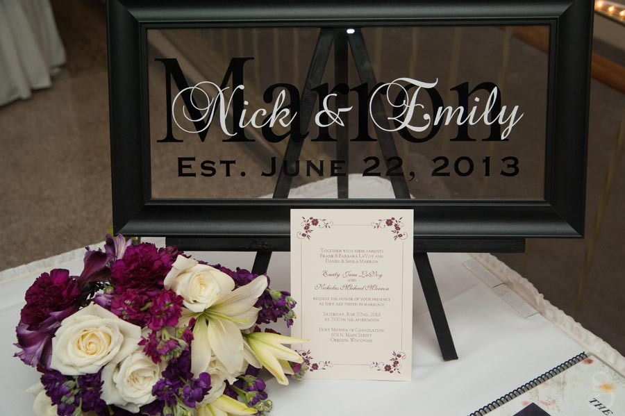 personalized name and wedding date frame, so creative.