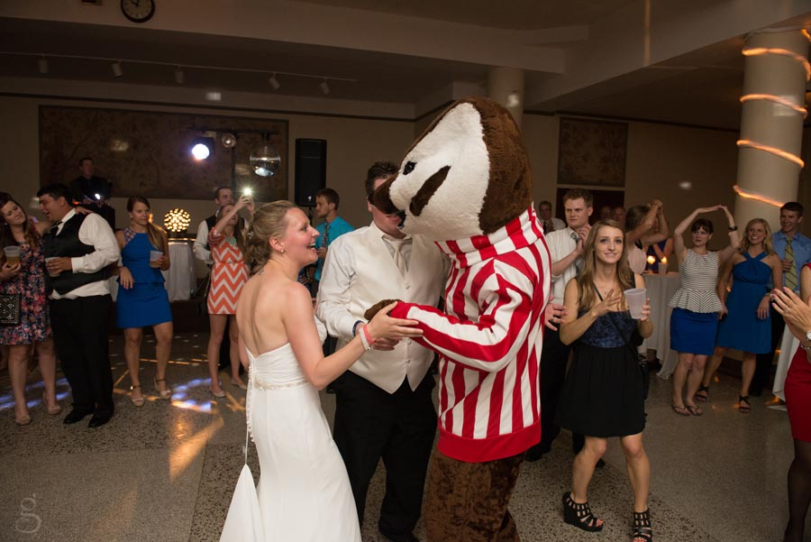 the bride and groom saying hello to Bucky the badger