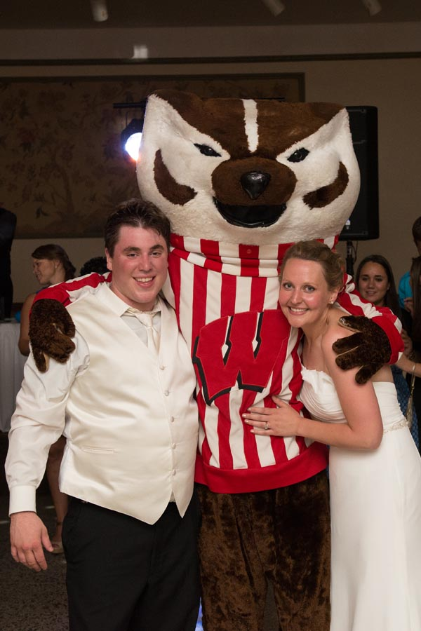 fun bridal portrait with Bucky Badger