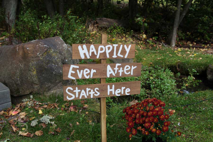 Happily ever after starts here wooden painted sign, rustic.