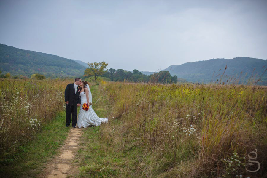 long white wedding gown, black tux, Devil's Lake