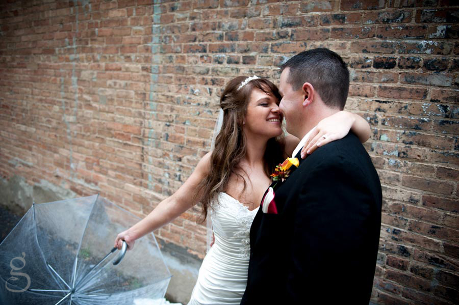 urban bridal portrait with old brick