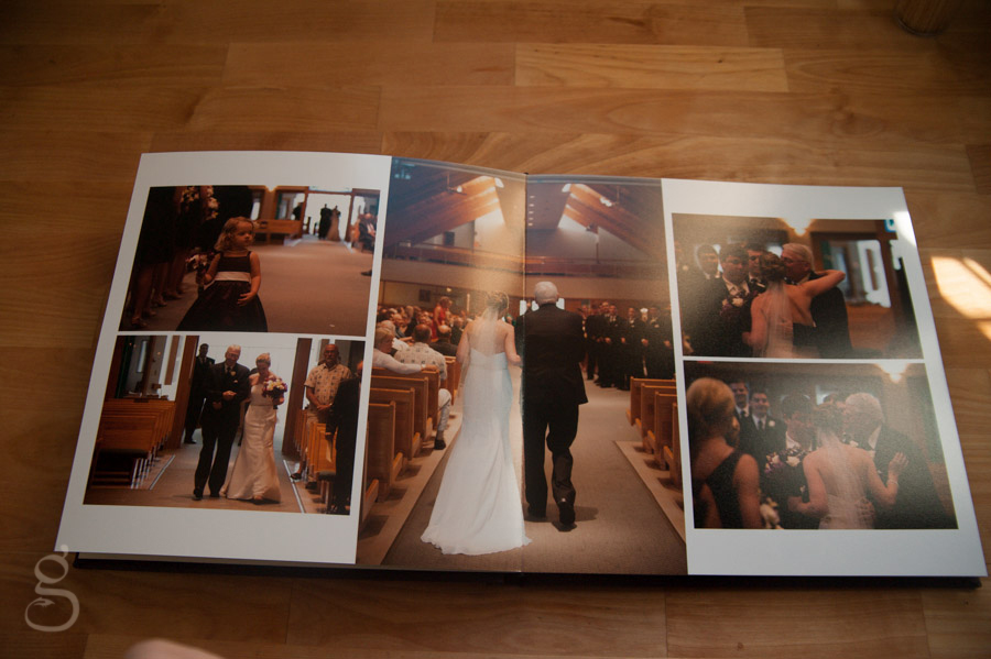 ready to walk down the aisle wedding album spread.