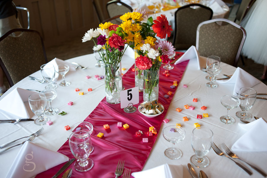 Starburst and bursts of color on the reception table.