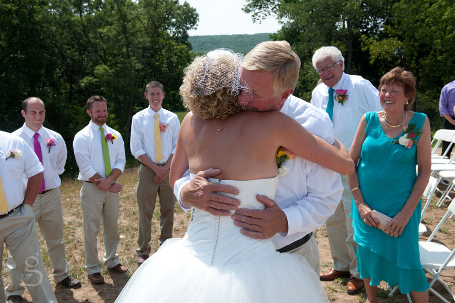 I love the father and daughter emotions as he hugs his little girl before she gets married.