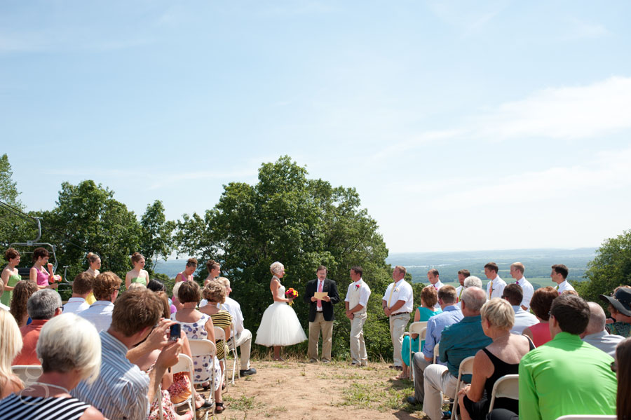 beautiful July afternoon wedding with short tulle dress.