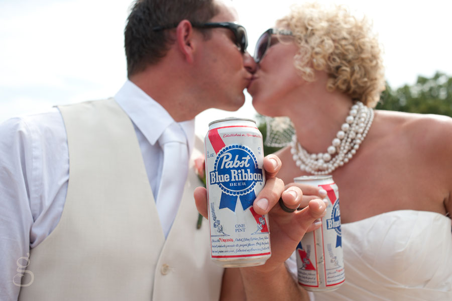 Pabst beer bridal shot.