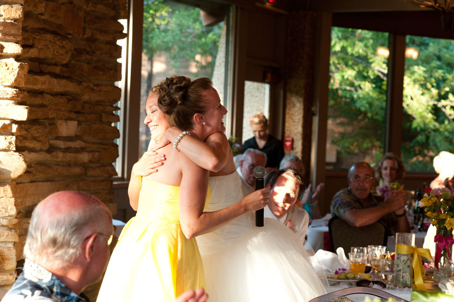 the bride hugging her sister after her speech.