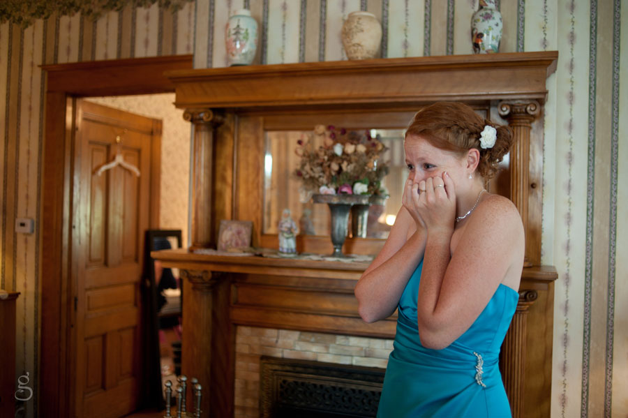 maid of honor's excitement at seeing her best friend in a wedding gown.