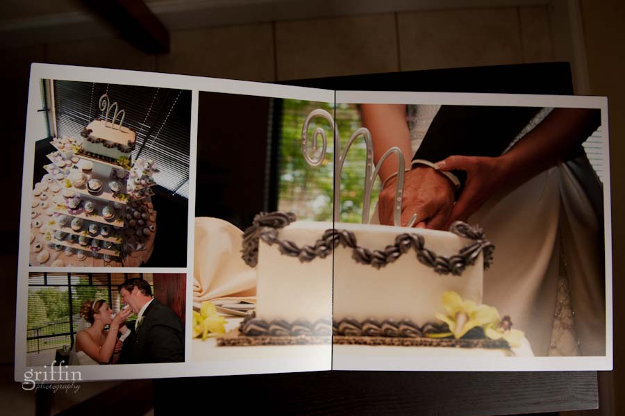 cake cutting album spread.