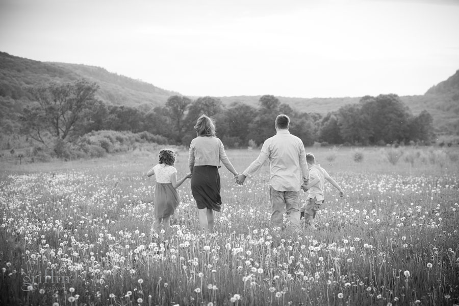 black and white family shot on the engagement session