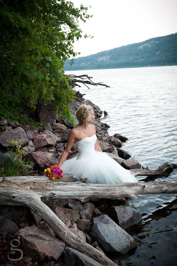 solitary bride overlooking devil's lake, wisconsin.