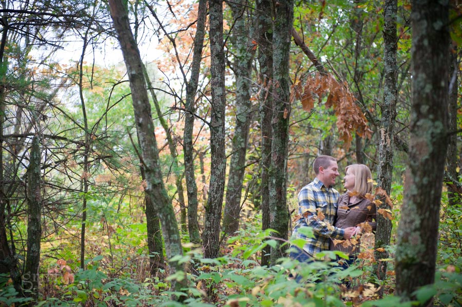 autumn engagement session in the woods