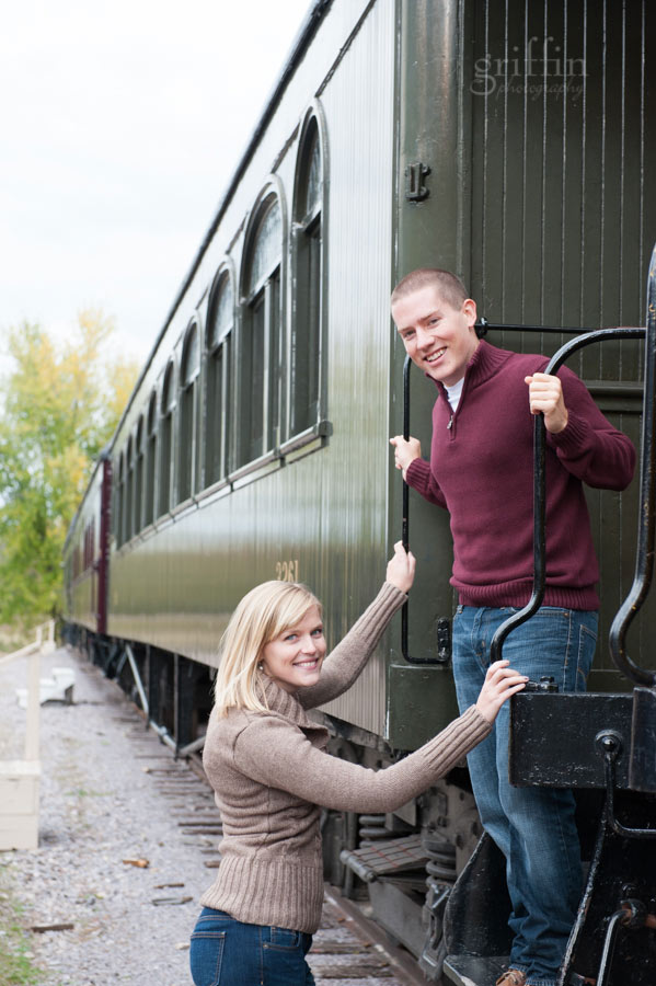 steam train engagement session