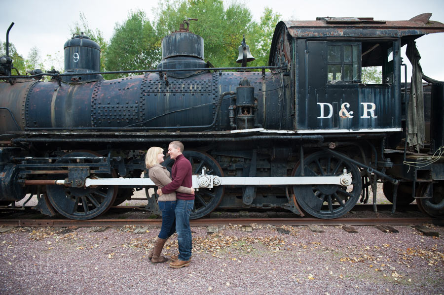 steam train engine engagement session