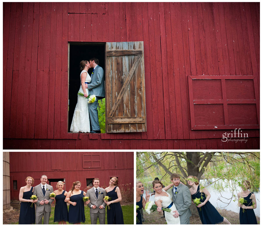 red barn wedding formal bridal party portraits