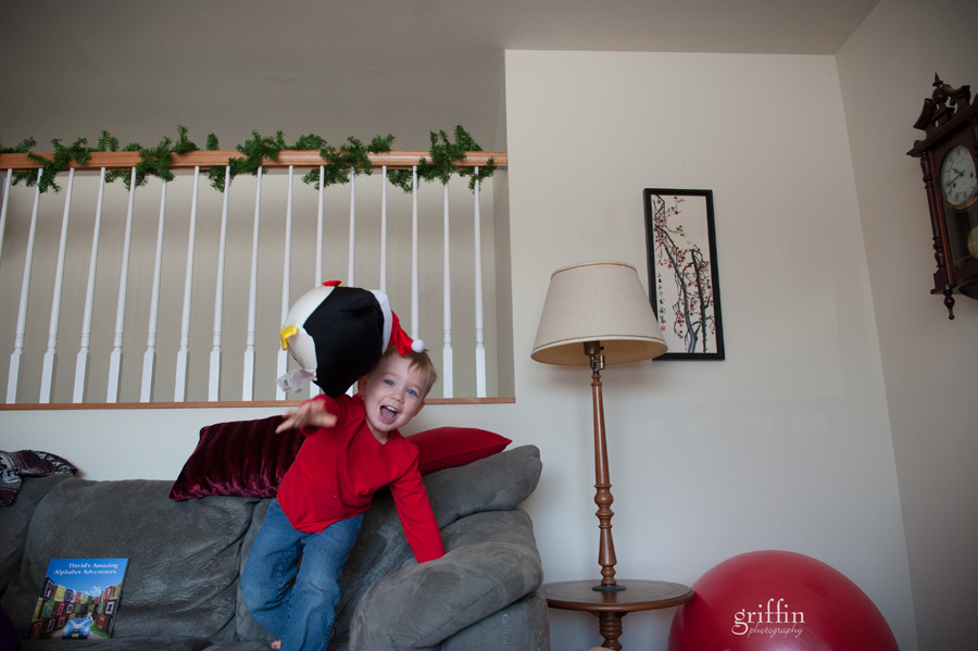penguins flying off the couch family portrait session.
