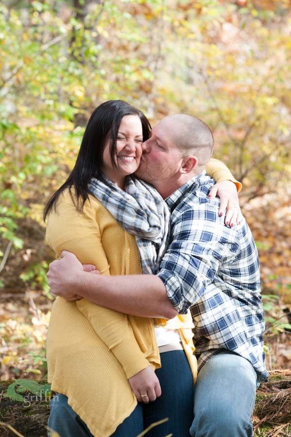 flannel and mustard sweaters engagement session