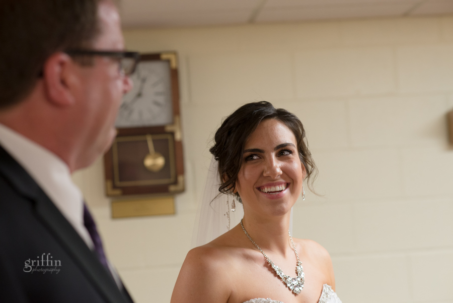 the bride smiling at her father