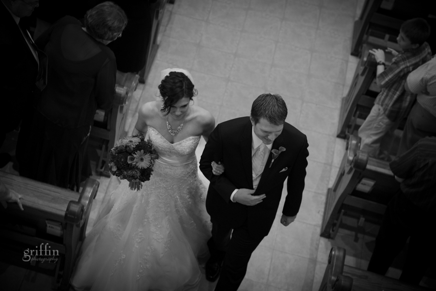 bride and groom black and white recessional classic pose