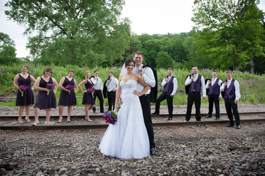 the bridal party on the railroad tracks at Devil's Lake.