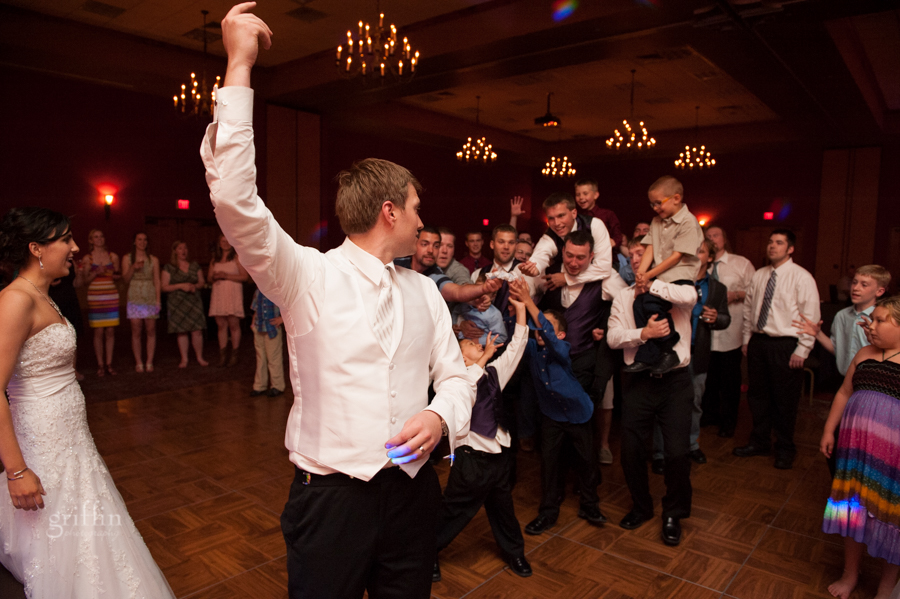 garter toss and all the guys reaching for it.