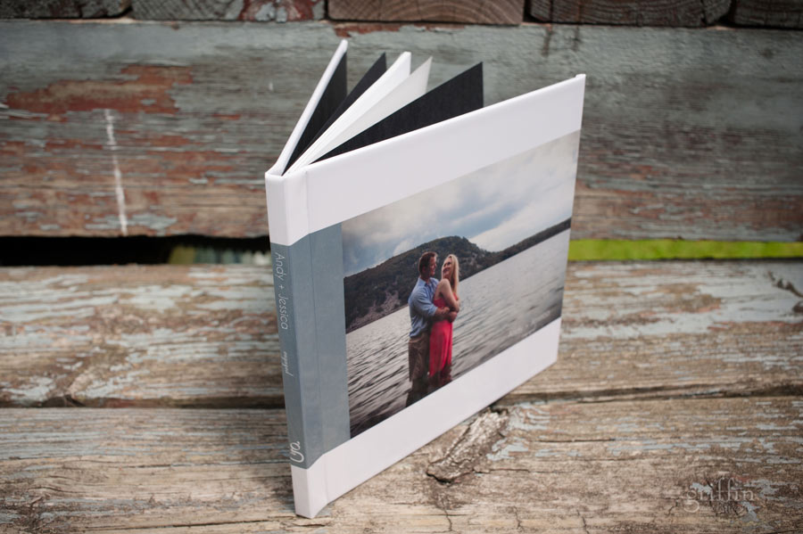 engagemtent guestbook with lake photo