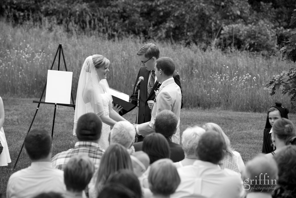 black and white wedding ceremony