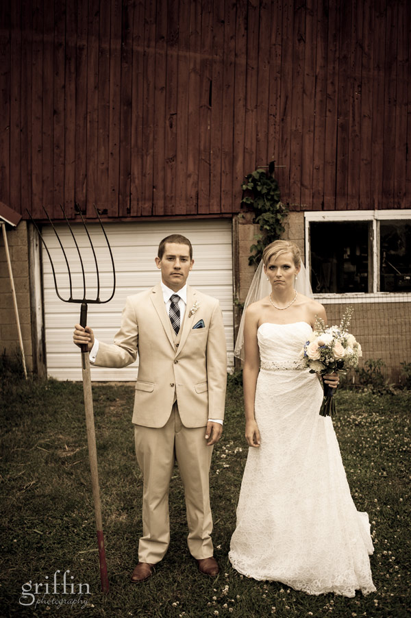 wedding take on Frank Wood's American Gothic