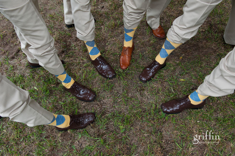 groomsmen wearing yellow and blue argyle socks