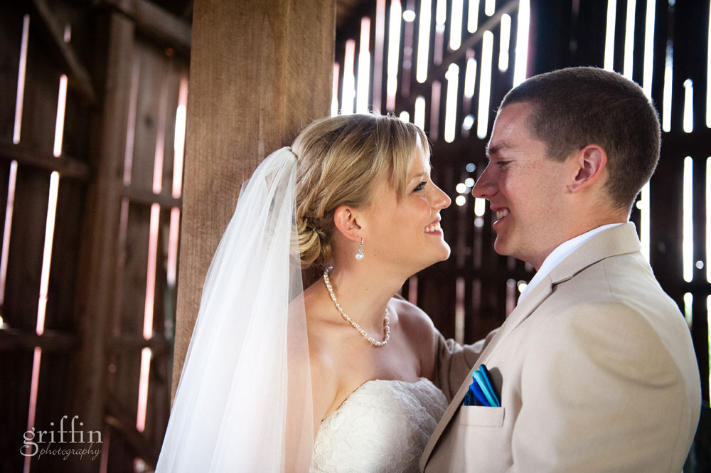 rustic barn wedding day smiles inside the interior