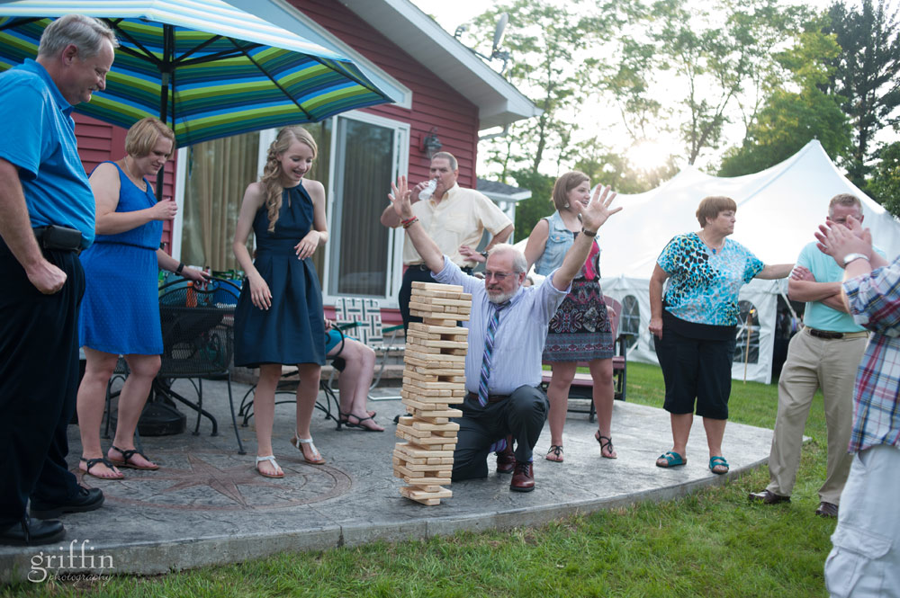 the amazing giant jenga played on the patio