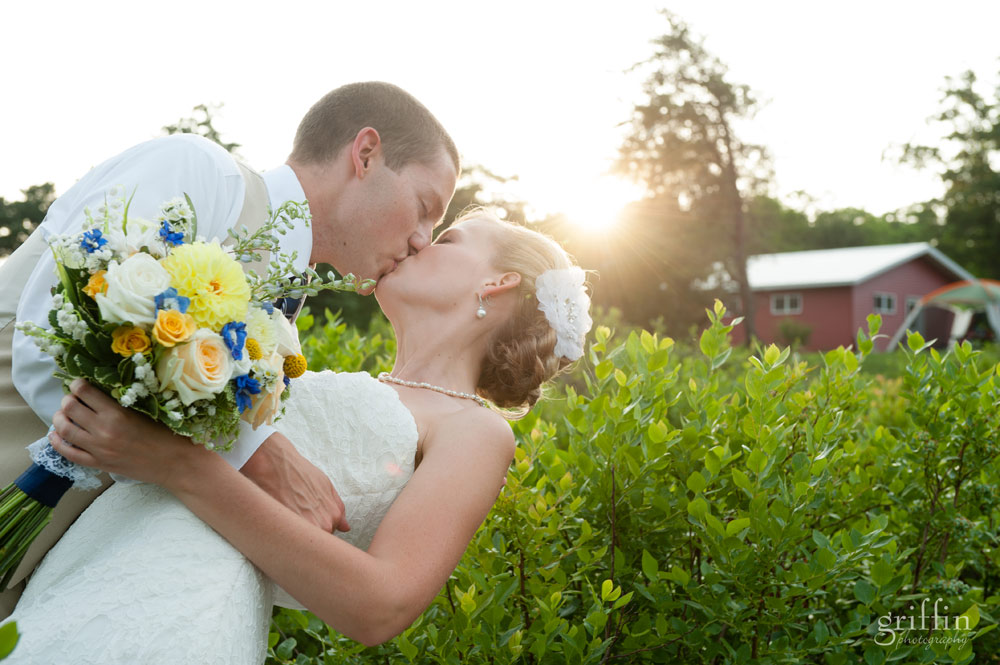 wedding kissing in the sunlight