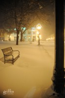 A lonely snow covered bench on the square in Baraboo.