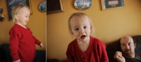 Toddler making faces for the camera.
