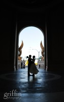 Wedded couple in front of the Mandalay Bay in Las Vegas, Nevada.