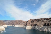 The high tide marks on the cliffs of the Colorado River above the Hoover Dam.