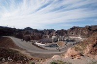 Hoover Dam and the road to it from Arizona.