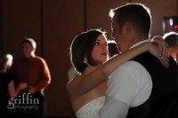 Close up of bride and groom on the dance floor at the Wilderness Resort Wisconsin Dells.