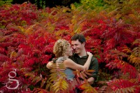 Hugging people surrounded by the glorious red profusion of sumac after a thunderstorm.