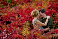 Forehead to forehead in a stand of red sumac on an engagement session.