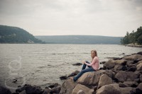 Devil's Lake senior portrait session with bluffs in the background.