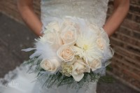 Emilie's gorgeous white rose bouquet from Amber Moon.