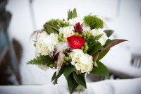 Red, white and green bridal bouquet from Wild Apples in Baraboo.