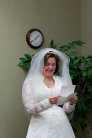 Barb reading her letter from Mark before the ceremony.